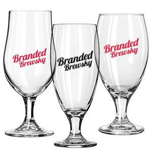 Branded Brewsky provides glassware to display your beer, from your brewery, bar, or pub.